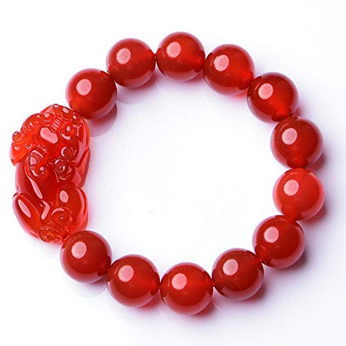 MGZDH Natural Red Agate Smooth Pixiu with Onyx Round Beads 10-14mm Single-Ring Unisex Bracelet