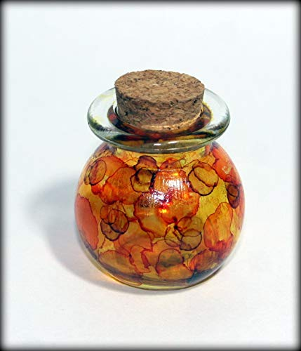 Miniature hand painted fairy light jar with lid
