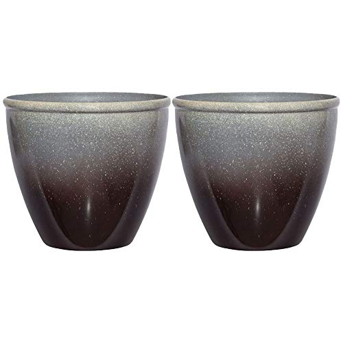 Suncast Seneca 16 Inch Decorative Resin Flower Planter Pot, Gray/Black (2 Pack) ()