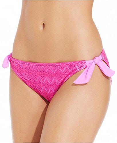 (Hula Honey Crochet Side-Tie Hipster Bikini Bottom Women's Swimsuit Pink)