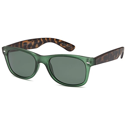 GAMMA RAY CHEATERS Best Value Polarized UV400 Wayfarer Style Sunglasses with Mirror Lens and Multi Pack Options Adult - Olive Lens on Emerald Tortoise Frame