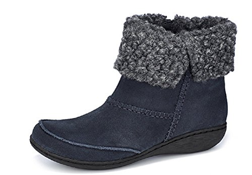 Clarks UK Suede Navy Fianna 4E Boot Ankle Joy Cuff Cosy With ZprqZ