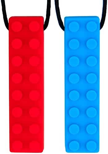 Chew Brick Sensory Chewing Necklace - 2-Pack - Chewelry for Autism & Oral Motor Special Needs Kids - Calming Textured Chewy Stick Helps Girls & Boys with Biting Teething - by Solace (Red & Blue)