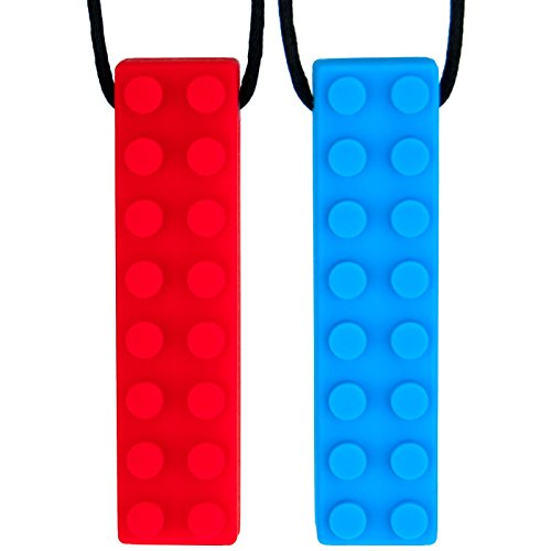 Sensory Chew Necklace for Boys & Girls - Kids Chewelry for Autism ADHD Oral Motor Chewing Biting Teething - Chewy Chewlery Chew Brick (2-Pack) by Solace