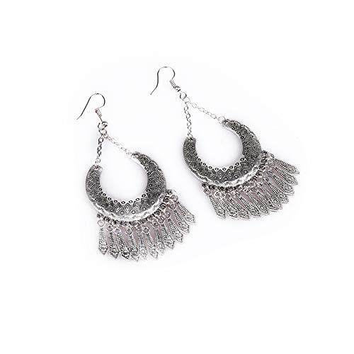 Earrings Handmade Dangling (Silveam Tassel Earrings for Women Vintage Bohemian Earrings Long Classic Statement Earrings Alloy Hypoallergenic Earrings Boho Style Tassel Earrings Handmade Dangling Earrings Jewelry Drop Earrings)
