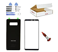 (Md0410) Black Front Outer Glass Lens, Back Cover Replacement Compatible Galaxy Note 8 N950 + Adhesive + Opening Tool + Loca Glue (Lcd & Digitizer Not Included)