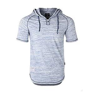 ZIMEGO Men's Contrast Short Sleeve Round Bottom Raglan Hoodie Henley T-Shirts 17