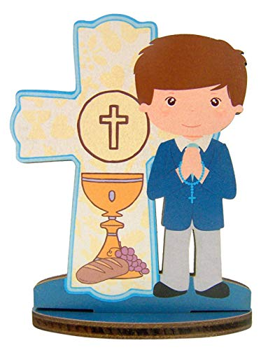 First Communion Standing Cross Statuette, 3 3/4 Inch (Blue)
