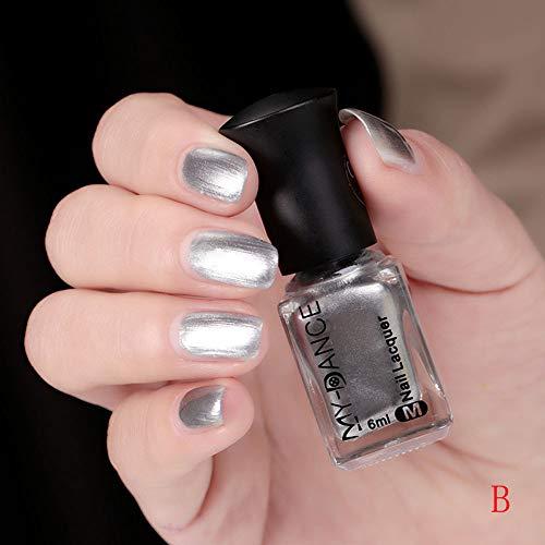 (HCFKJ Mirror Chrome Effect Nail Powder No Polish Foil Nails Art Glitter Silver B)
