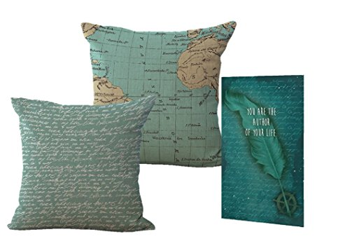 Smiling Wisdom - Blue Author of Your Life Antique Vintage Pillow Covers Gift Set -2 Blue - Letter Script Pattern and Old Map- Journey Wisdom Card - Daughter, Son, Teen Graduation Gift - 2018 Grad