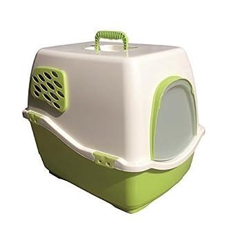 emcke aseo para Gatos Lisa con tapa, aletear y filtro color crema suelo en verde claro camada Moderno Grande Sin aletear: Amazon.es: Productos para mascotas