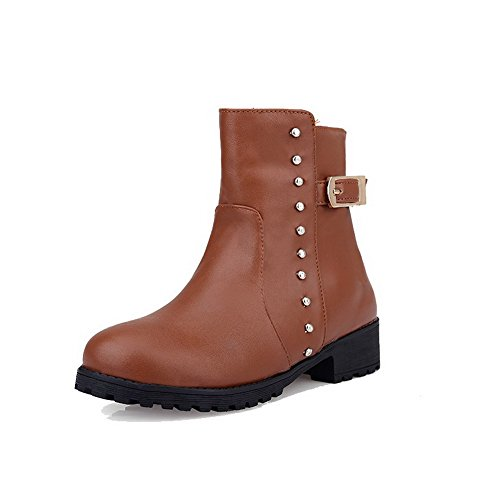 Solid Material Boots Low Women's Zipper Closed Heels WeenFashion Toe Brown Round Soft 4tqpnO