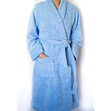 Organic Bath robe. Terry style absorbent 100% Certified cotton. Pure and Elegant (Blue, Men L-XL)
