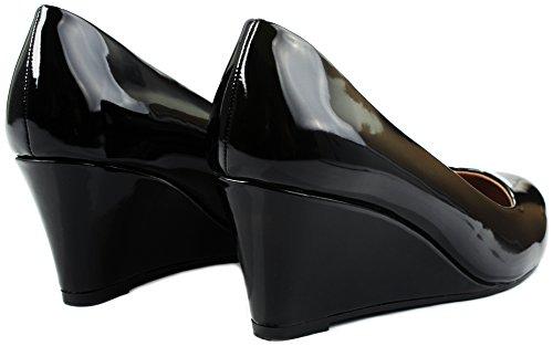 Jjf Chaussures Doris22 Simple Formel Élégant Faux Confort Confort Milieu Talon Talon Robe Pompes Noir Pat