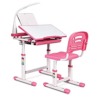 HONEY JOY Kids Desk and Chair Set, Height Adjustable Table with Tilting Desktop, LED Light, Book Stand, Storage Drawer and Metal Hook, Multifunctional School Study Workstation for Children (Pink)
