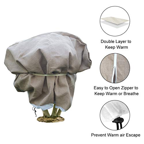 Agfabric Burlap & Non-Woven Fabric Plant Cover – 40″x 60″ Heavy Duty Double Layer Frost Jacket, Shrub Cover for Freeze Protection & Cold Weather