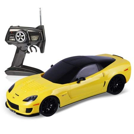(Midea Tech 2.4Ghz 1/18 Scale Chevrolet Corvette Z06 Radio Remote Control Sport Racing Car RC Yellow)
