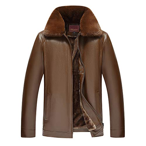 Men's Imitation Leather Coat GREFER Winter Fur Collar Removable Full Zip Tops Pure Color -