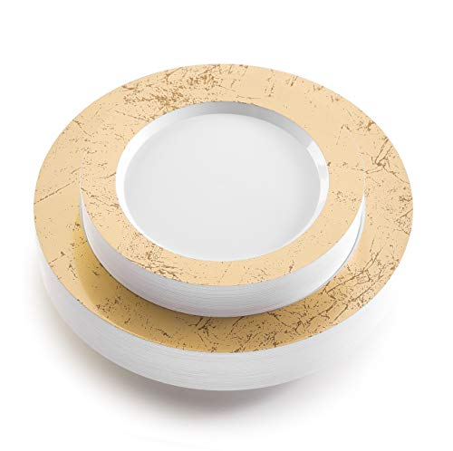 - 50 Piece Gold Marble Rimmed Disposable Plates - Heavy Duty Plastic Dinnerware Set Includes 25 Dinner Plates and 25 Salad Plates (Gold Marble)