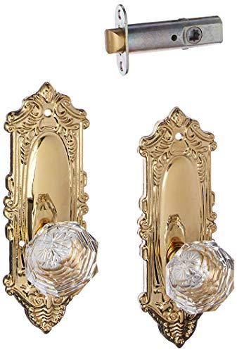 Largo Design Door Set With Diamond Crystal Knobs Privacy In Polished Brass. ()
