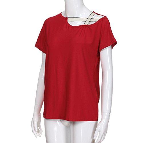 Tops t Shirt Femme Courte paules Rond Lache Ouvert Manches Tops Blouse Guesspower Courte Chic paule Casual T Fille Chemisier Haut Rouge Hors Col EYqdSw