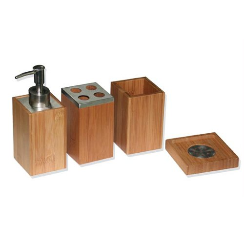 set de 4 accessoires pour salle de bain - bambou et inox: amazon ... - Bambou Pour Salle De Bain