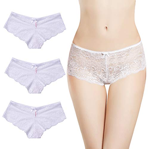 AmorFati Women's Floral Lace Bikini Panties White 3 Pack Low-Rise Underwear with Scalloped Lace Extra Soft & Stretch Hipster for Women, - Floral Bikini Panties