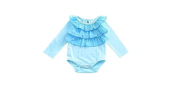 Recién nacido bebé niña Pelele de manga larga Mono azul borde ...