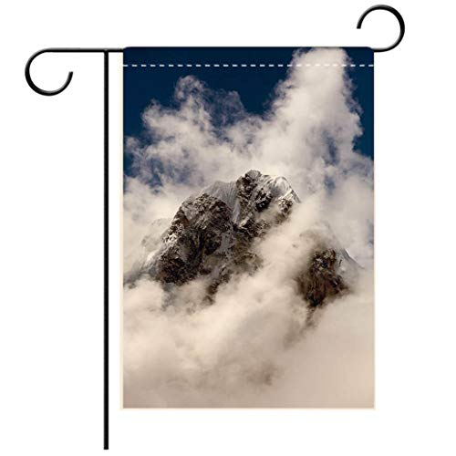 BEISISS Double Print Garden Flag Outdoor Flag House FlagBannerMount Arakam Tse and Clouds Near Cho La Passdecorated for Outdoor Holiday Gardens ()