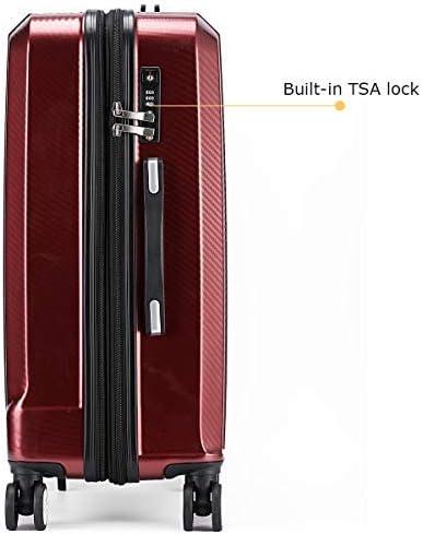 BURGUNDY-2, 3 pcs set 202428 Travel Joy Luggage Set Expandable Suitcase Carry On TSA Locks Lightweight Spinner Wheels ABS+PC Premium Hardshell Luggage