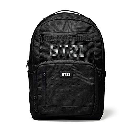 - BT21 Offical Merchandise by Line Friends - Mesh Backpack Travel School Book Bag, Black
