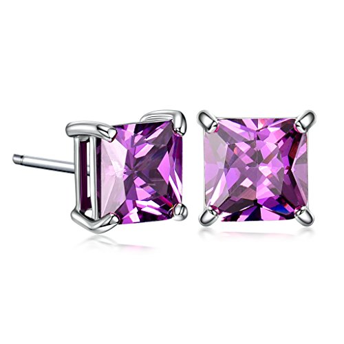 GULICX White Gold Tone 7mm Square CZ Amethyst Color Pierced Earrings Studs Purple Unisex ()