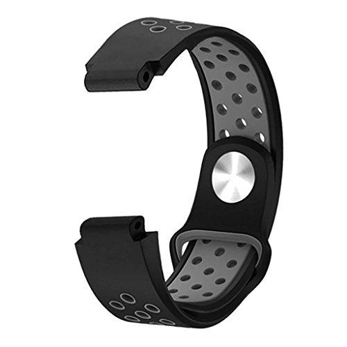 (Tebatu Silicone Watch Strap,Smart Watch Band for Garmin Forerunner 235 220 230 620 630 735XT — Gray)