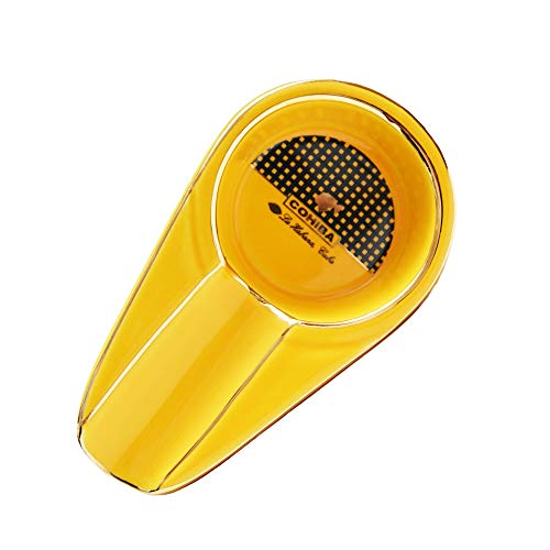 Anllee Ashtray,Cigar Ashtray for Indoor/Outdoor Use,Ceramic Material,Small and Cool Design(Yellow)