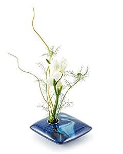 Georgetown Pottery Square Ikebana Flower Vase, Blue Wave