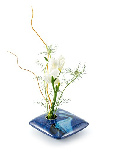 Georgetown Pottery Square Ikebana Flower Vase, Blue Wave