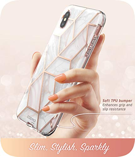 i-Blason Cosmo Full-Body Case for iPhone Xs/ iPhone X Case 2018 Release, Marble, 5.8″