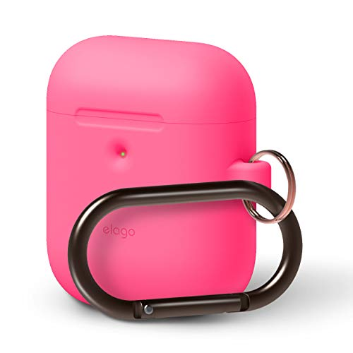 elago AirPods Hang Case [Neon Hot Pink] - [Front LED Visible][Supports Wireless Charging][Extra Protection][Added Carabiner][2019 Latest Model] - for AirPods 2 Wireless Charging Case