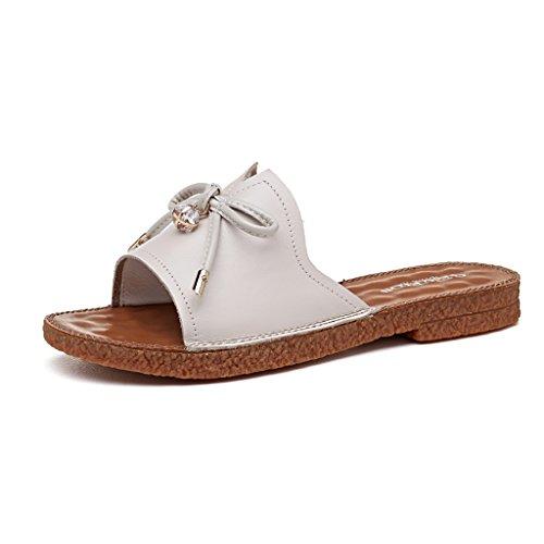 PENGFEI Chanclas de playa para mujer Pareja sandalias Ocio Playa zapatillas estudiante de verano Antideslizante sandalias planas Negro, blanco y beige Cómodo y transpirable ( Color : Negro , Tamaño :  Beige