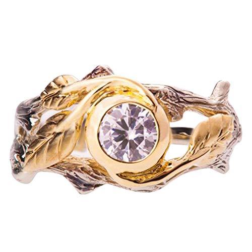 Tree Branch Engagement Ring (bjduck99 Women Fashion Rhinestone Hollow Carved Tree Branch Leaf Finger Ring)