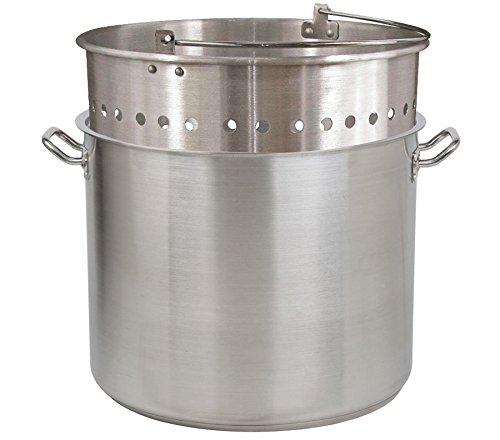 Tiger Chef 100 Quart Heavy-Duty Stainless Steel Stock Pot with Cover And Aluminum Steamer Basket