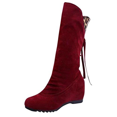 Toamen Women's Mid Wide Leopard Tassel Winter Warm Calf Shoes Boots (Tab 40=UK 5, Black) Red