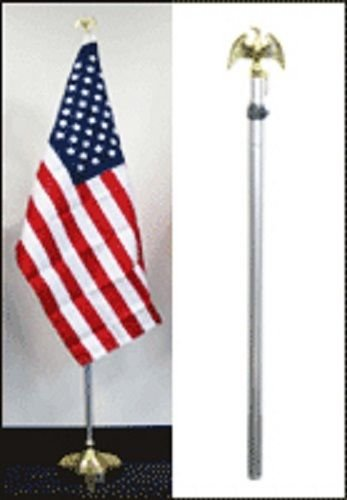 8ft Aluminum Banner Residential Indoor Flag Pole Gold Eagle with Base (no flag)