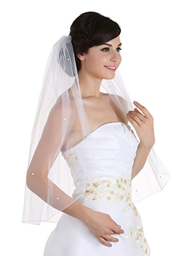 1T 1 Tier Hemmed Pencil Edge Rhinestone Veil - Ivory Elbow Length 30