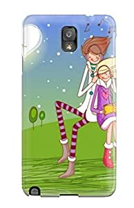 Awesome Case Cover/galaxy Note 3 Defender Case Cover(cartoons Couple Listening Music Together)