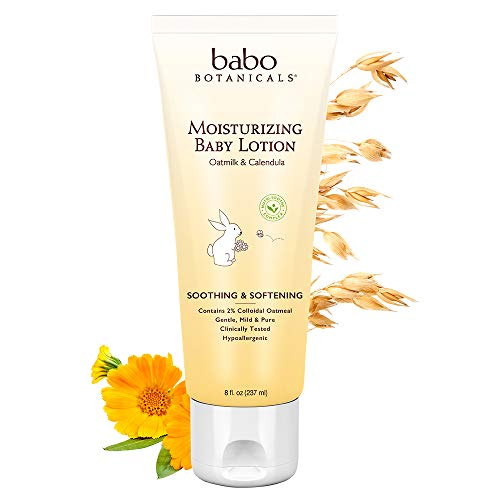 (Babo Botanicals Oatmilk Calendula Moisturizing Baby Lotion, 8 Ounce - Best Baby Lotion for Soothing Sensitive Skin; Helps Relieve Eczema; Natural Oat and Organic Calendula)