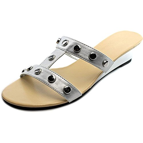 Athena Alexander Womens Thelma Open Toe Casual Slide Sandals, Silver, Size 6.0