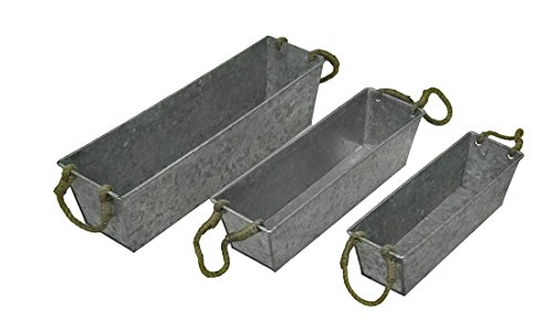 - Set of 3 Galvanized Metal Rectangular Planters w/Jute Handles