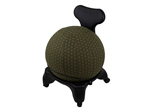 55cm Exercise Ball Cover, yoga ball cover, balance ball cover, birthing ball cover, 100% cotton - Olive Geometric by Global Groove Life