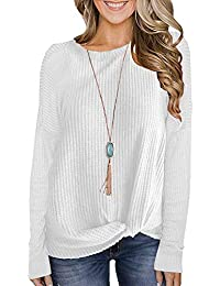 Womens Waffle Knit Twist Knot Pullover Tops Loose Fitting Plain Shirts